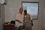 Keith receiving his certificate for completing the train the trainer workshop.